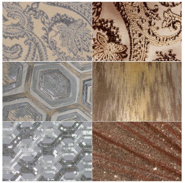 Trending Linens, Metallic Linen Trend, Gold Sequin, Gold Abstract, Silver Geometric Sequin, Chestnut Martinique, Silver Martinique